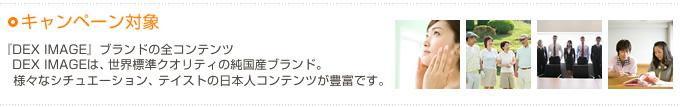 キャンペーン対象 『DEX IMAGE』ブランドの全コンテンツ。DEX IMAGEは、世界標準クオリティの純国産ブランド。様々なシチュエーション、 テイストの日本人コンテンツが豊富です。