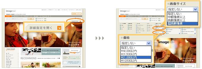 [検索]ボタン右下の[詳細指定を開く]ボタンをクリックすると、画像サイズや価格帯を指定できるようになります。ご予算や・使用サイズに合わせて効率よくイメージを絞り込んでいけます。