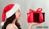 20931532(クリスマスプレゼントを持つ女性)とその連想画像